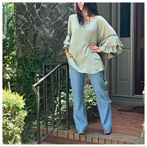 Olive loose layered sleeves tunic